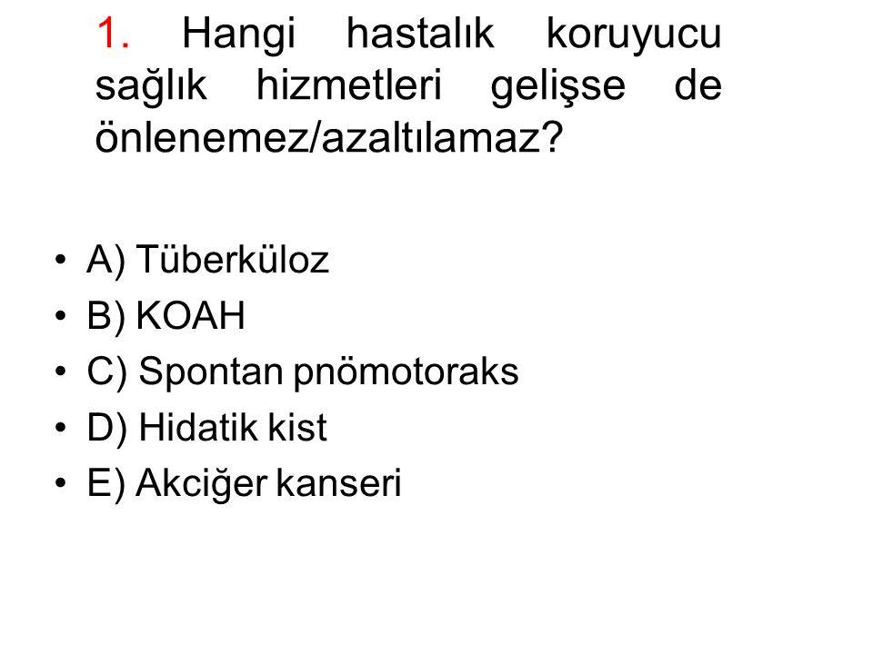 1. Hangi hastalık koruyucu sağlık hizmetleri gelişse de önlenemez/azaltılamaz? A) Tüberküloz B) KOAH C) Spontan pnömotoraks D) Hidatik kist E) Akciğer