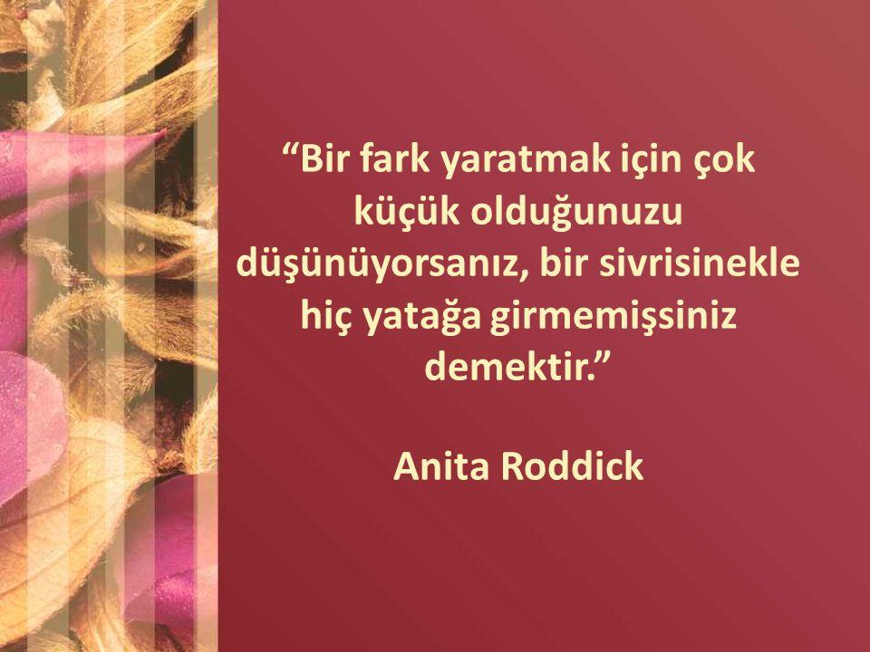 """""""Bir fark yaratmak için çok küçük olduğunuzu düşünüyorsanız, bir sivrisinekle hiç yatağa girmemişsiniz demektir."""" Anita Roddick"""
