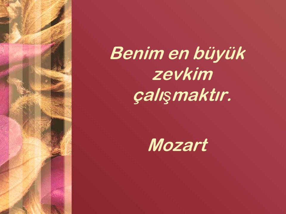 Benim en büyük zevkim çalı ş maktır. Mozart