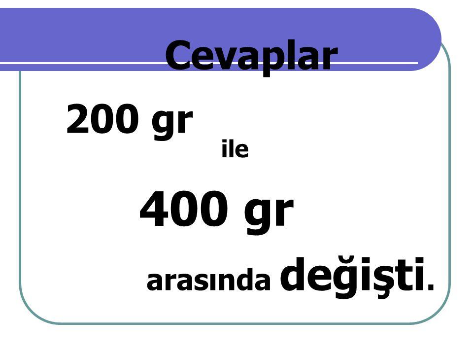 Cevaplar 200 gr ile 400 gr arasında değişti.