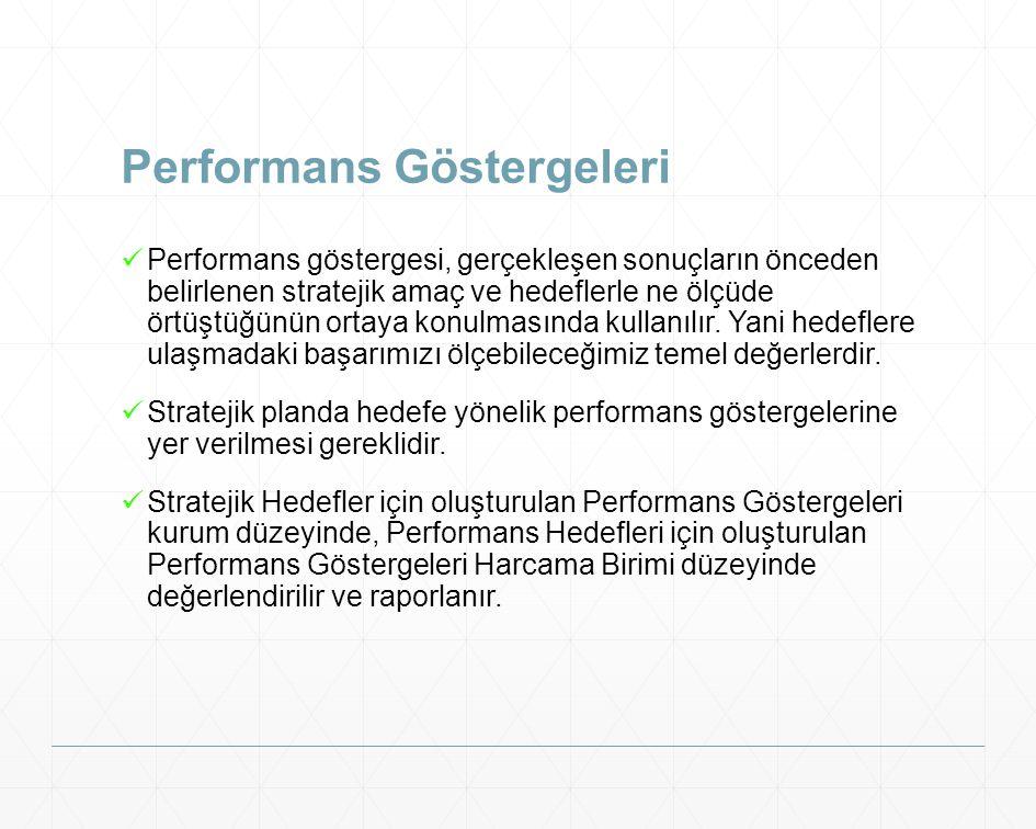 Performans Göstergeleri Performans göstergesi, gerçekleşen sonuçların önceden belirlenen stratejik amaç ve hedeflerle ne ölçüde örtüştüğünün ortaya ko