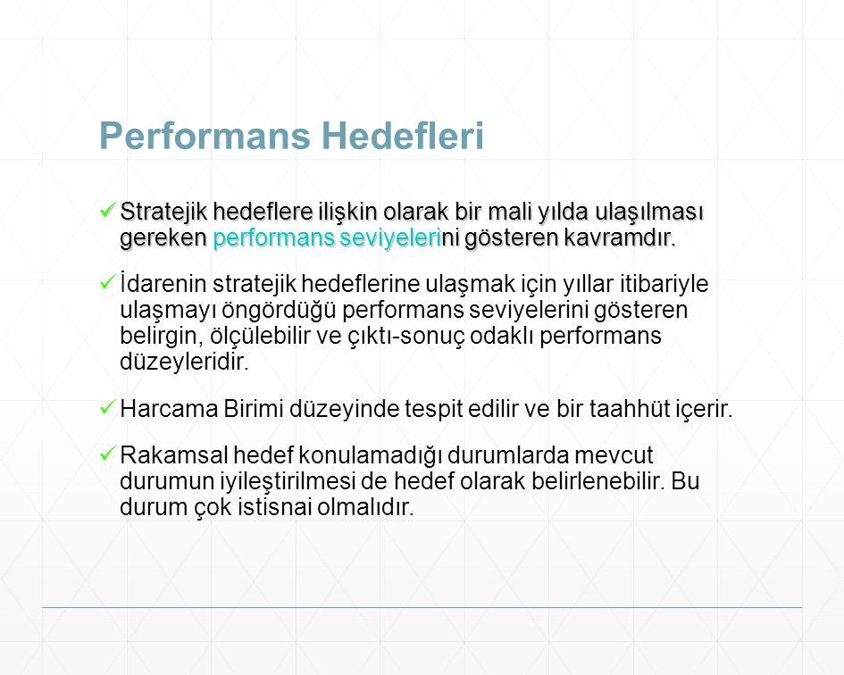 Performans Hedefleri Stratejik hedeflere ilişkin olarak bir mali yılda ulaşılması gereken performans seviyelerini gösteren kavramdır. Stratejik hedefl