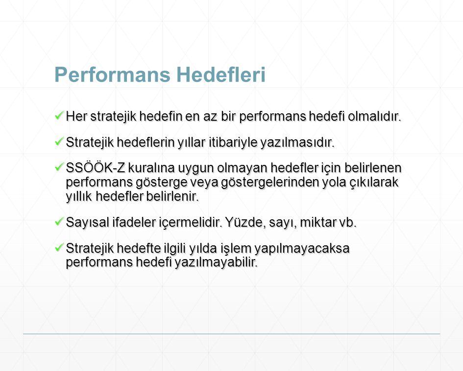 Performans Hedefleri Her stratejik hedefin en az bir performans hedefi olmalıdır. Her stratejik hedefin en az bir performans hedefi olmalıdır. Stratej