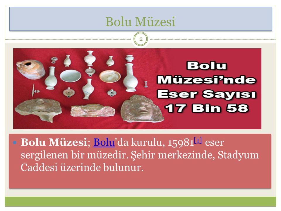 Bolu Müzesi; Bolu da kurulu, 15981 [1] eser sergilenen bir müzedir.