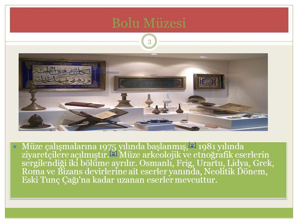 Bolu Müzesi Müze çalışmalarına 1975 yılında başlanmış, [2] 1981 yılında ziyaretçilere açılmıştır.