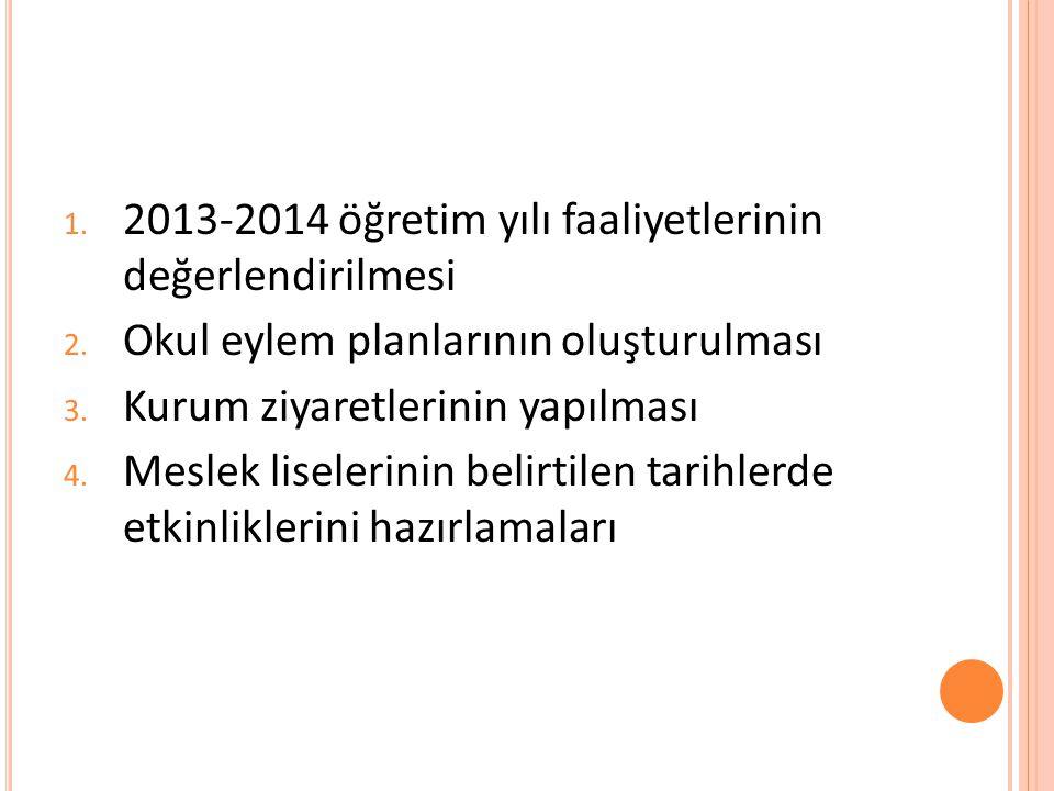 1. 2013-2014 öğretim yılı faaliyetlerinin değerlendirilmesi 2. Okul eylem planlarının oluşturulması 3. Kurum ziyaretlerinin yapılması 4. Meslek lisele