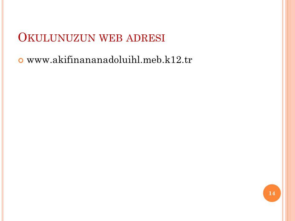 O KULUNUZUN WEB ADRESI www.akifinananadoluihl.meb.k12.tr 14