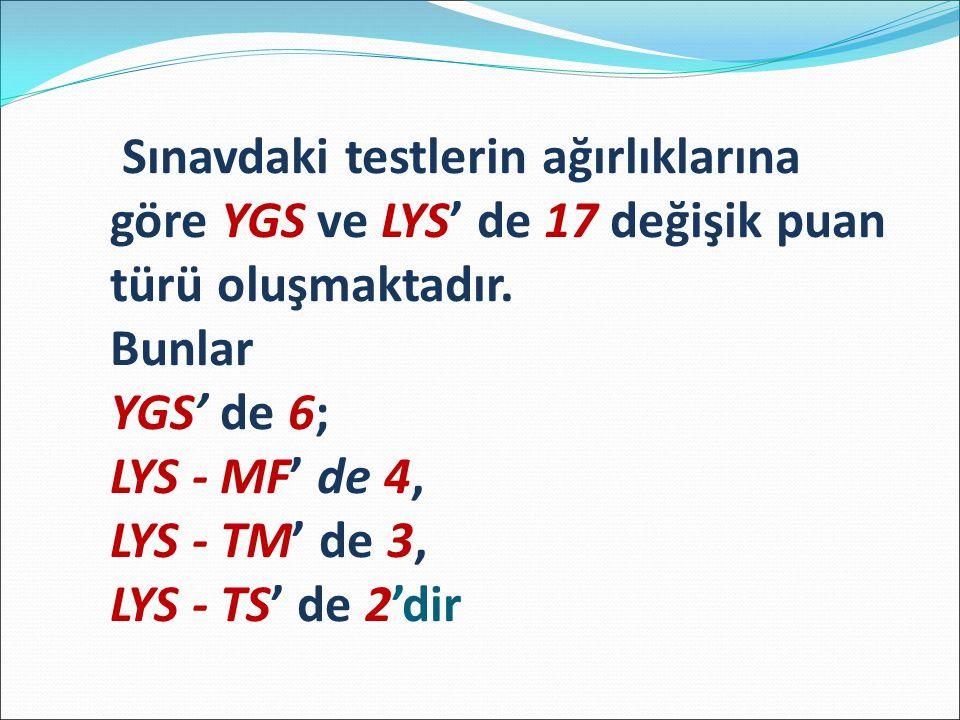 Sınavdaki testlerin ağırlıklarına göre YGS ve LYS' de 17 değişik puan türü oluşmaktadır.