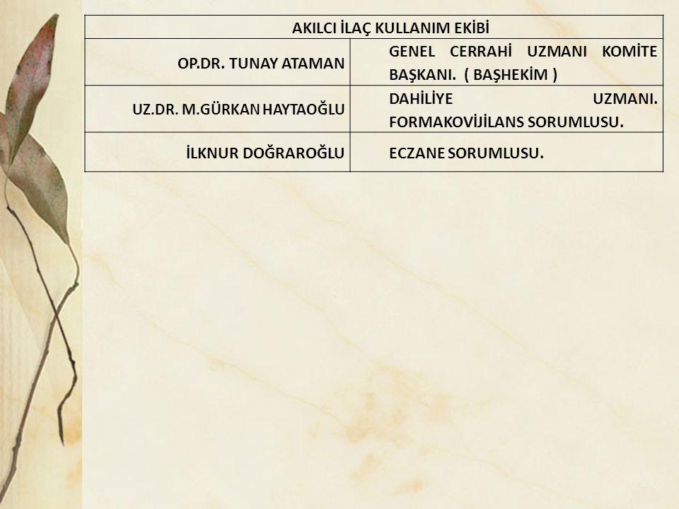 TESİS GÜVENLİĞİ KOMİTESİ OP.DR.TUNAY ATAMAN GENEL CERRAHİ UZMANI KOMİTE BAŞKANI.