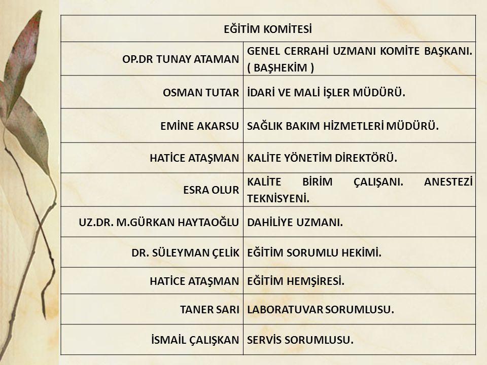 EĞİTİM KOMİTESİ OP.DR TUNAY ATAMAN GENEL CERRAHİ UZMANI KOMİTE BAŞKANI.