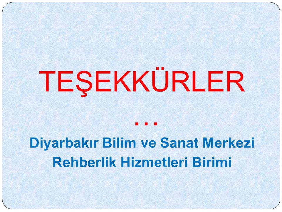 TEŞEKKÜRLER … Diyarbakır Bilim ve Sanat Merkezi Rehberlik Hizmetleri Birimi