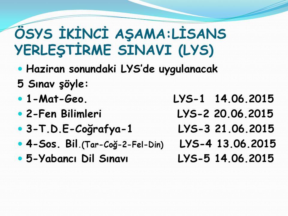 ÖSYS İKİNCİ AŞAMA:LİSANS YERLEŞTİRME SINAVI (LYS) Haziran sonundaki LYS'de uygulanacak 5 Sınav şöyle: 1-Mat-Geo. LYS-1 14.06.2015 2-Fen Bilimleri LYS-