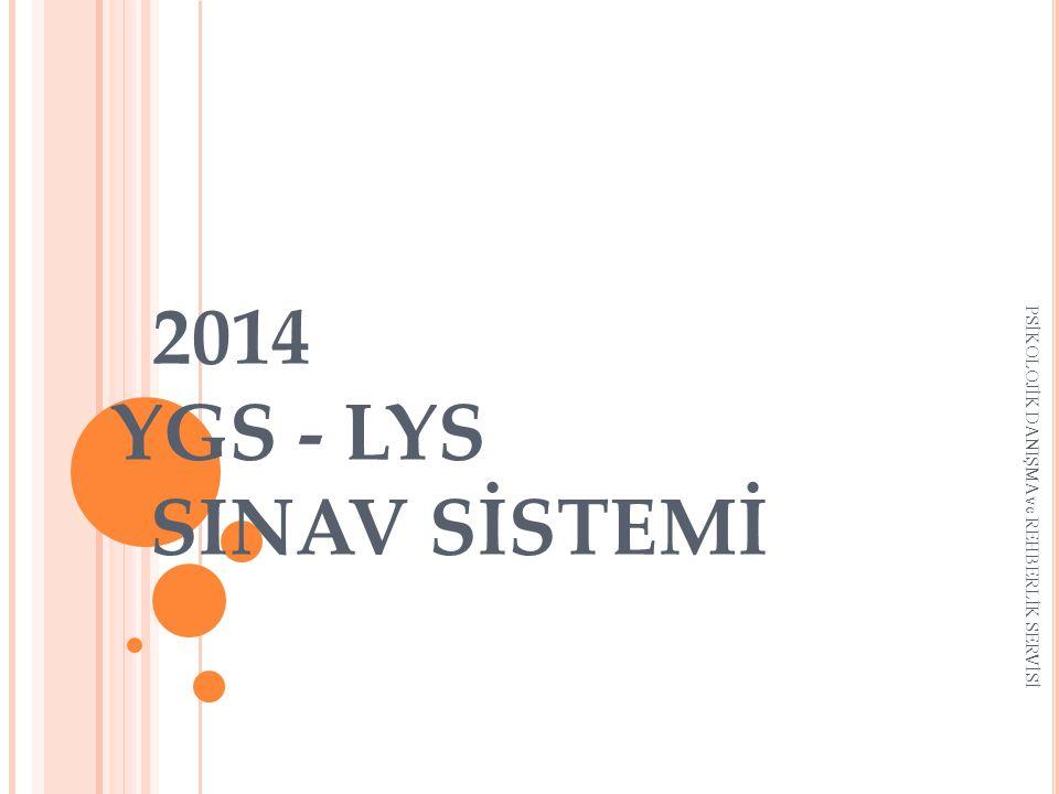 2014 YGS - LYS SINAV SİSTEMİ PSİKOLOJİK DANIŞMA ve REHBERLİK SERVİSİ
