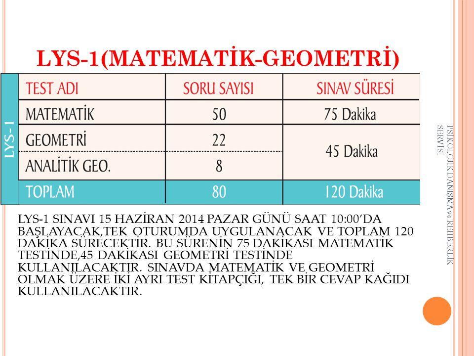 LYS-1(MATEMATİK-GEOMETRİ) LYS-1 SINAVI 15 HAZİRAN 2014 PAZAR GÜNÜ SAAT 10:00'DA BAŞLAYACAK,TEK OTURUMDA UYGULANACAK VE TOPLAM 120 DAKİKA SÜRECEKTİR. B