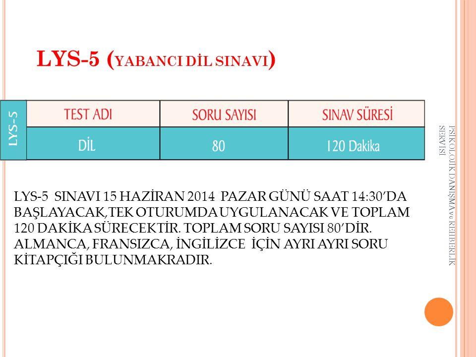 LYS-5 ( YABANCI DİL SINAVI ) LYS-5 SINAVI 15 HAZİRAN 2014 PAZAR GÜNÜ SAAT 14:30'DA BAŞLAYACAK,TEK OTURUMDA UYGULANACAK VE TOPLAM 120 DAKİKA SÜRECEKTİR