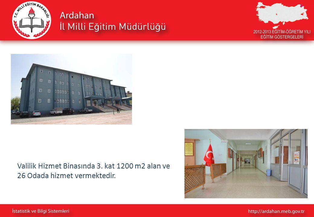 Valilik Hizmet Binasında 3. kat 1200 m2 alan ve 26 Odada hizmet vermektedir.