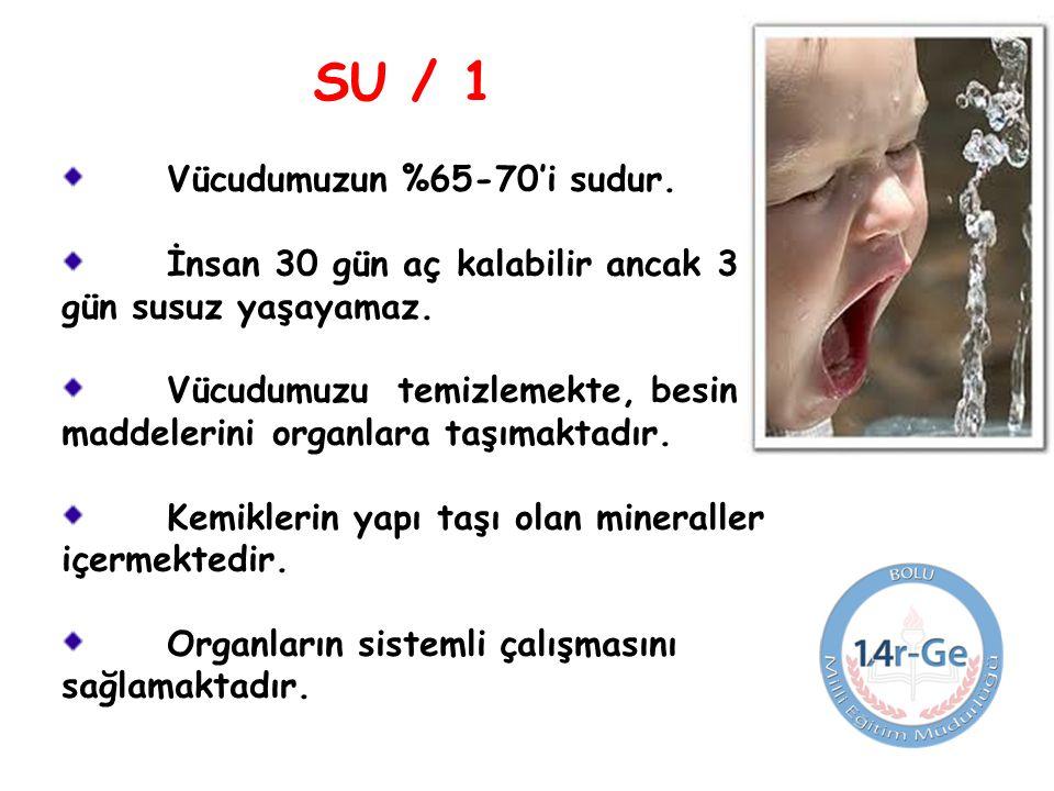 SU / 1 Vücudumuzun %65-70'i sudur.İnsan 30 gün aç kalabilir ancak 3 gün susuz yaşayamaz.