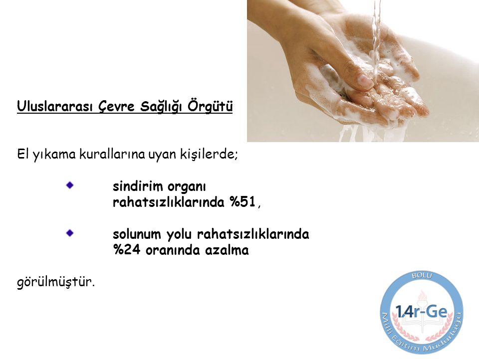 Uluslararası Çevre Sağlığı Örgütü El yıkama kurallarına uyan kişilerde; sindirim organı rahatsızlıklarında %51, solunum yolu rahatsızlıklarında %24 oranında azalma görülmüştür.