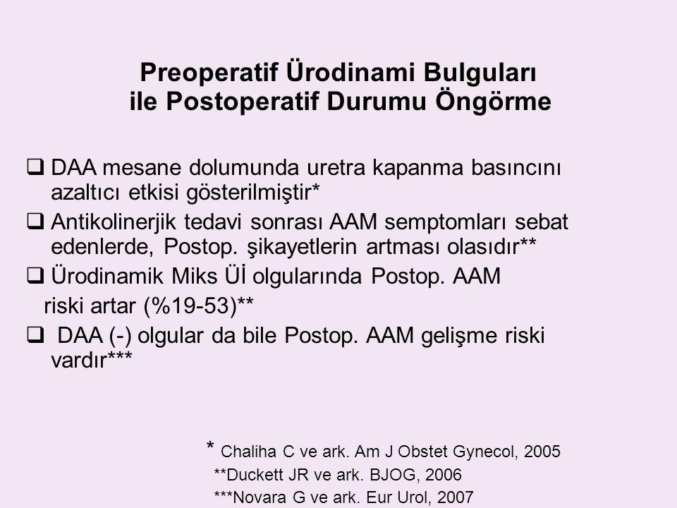 Preoperatif Ürodinami Bulguları ile Postoperatif Durumu Öngörme  DAA mesane dolumunda uretra kapanma basıncını azaltıcı etkisi gösterilmiştir*  Anti