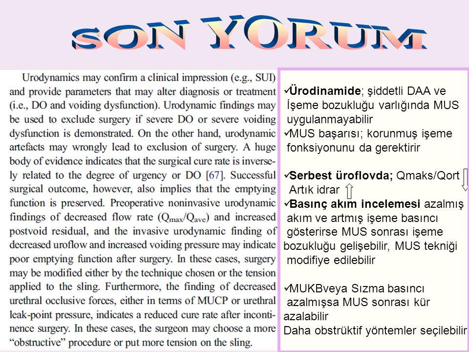 Ürodinamide; şiddetli DAA ve İşeme bozukluğu varlığında MUS uygulanmayabilir MUS başarısı; korunmuş işeme fonksiyonunu da gerektirir Serbest üroflovda