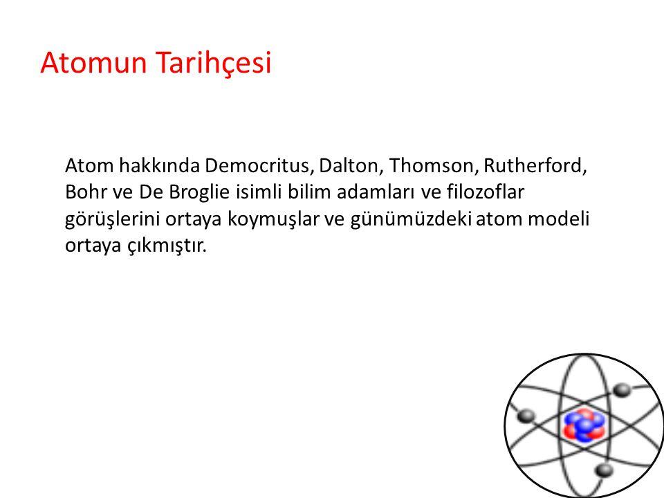 Atomun Tarihçesi Atom hakkında Democritus, Dalton, Thomson, Rutherford, Bohr ve De Broglie isimli bilim adamları ve filozoflar görüşlerini ortaya koymuşlar ve günümüzdeki atom modeli ortaya çıkmıştır.