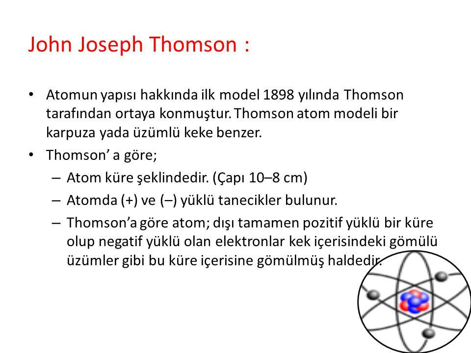 John Joseph Thomson : Atomun yapısı hakkında ilk model 1898 yılında Thomson tarafından ortaya konmuştur. Thomson atom modeli bir karpuza yada üzümlü k