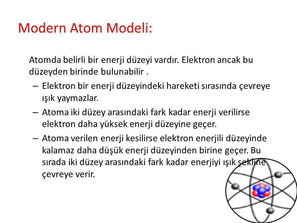 Modern Atom Modeli: Atomda belirli bir enerji düzeyi vardır. Elektron ancak bu düzeyden birinde bulunabilir. – Elektron bir enerji düzeyindeki hareket