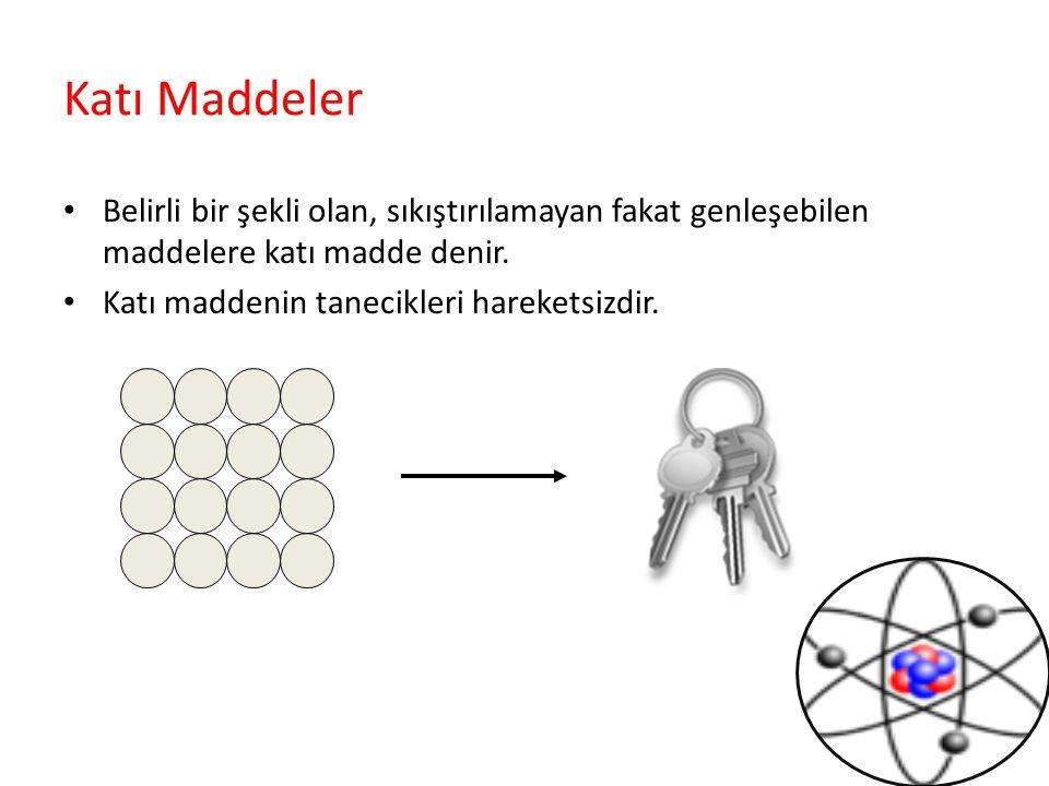 Katı Maddeler Belirli bir şekli olan, sıkıştırılamayan fakat genleşebilen maddelere katı madde denir. Katı maddenin tanecikleri hareketsizdir.