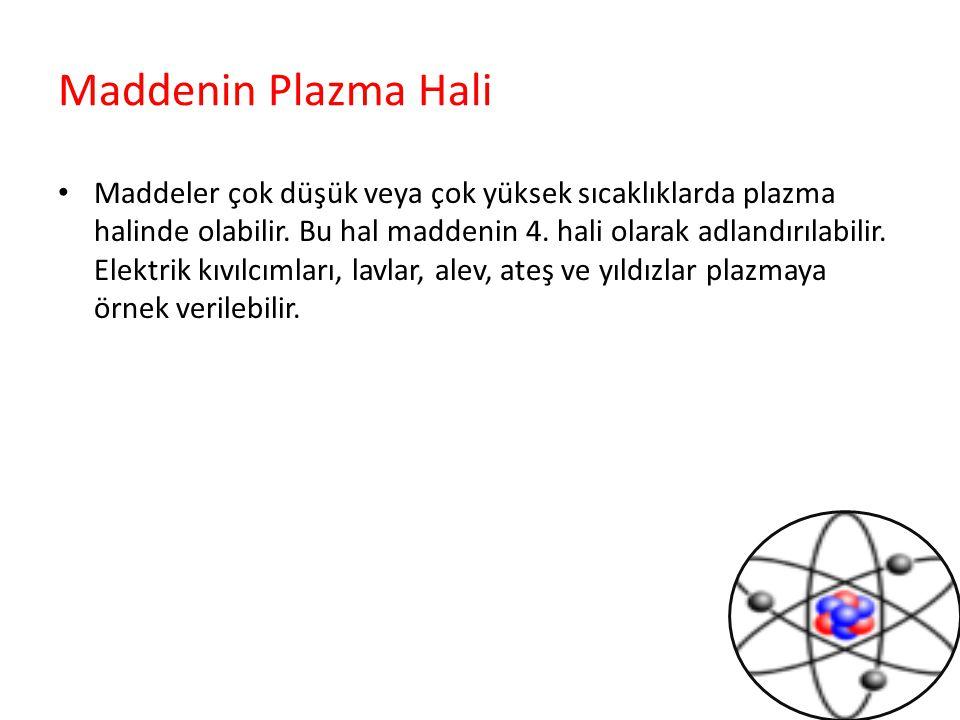 Maddenin Plazma Hali Maddeler çok düşük veya çok yüksek sıcaklıklarda plazma halinde olabilir. Bu hal maddenin 4. hali olarak adlandırılabilir. Elektr