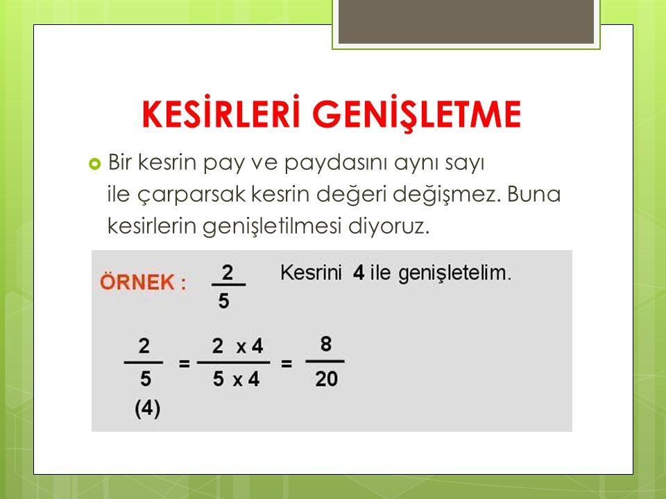 KESİRLERİ GENİŞLETME  Bir kesrin pay ve paydasını aynı sayı ile çarparsak kesrin değeri değişmez.