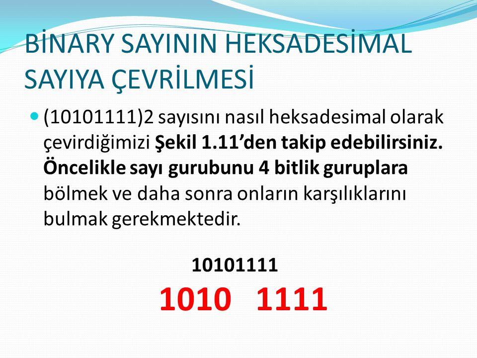 BİNARY SAYININ HEKSADESİMAL SAYIYA ÇEVRİLMESİ (10101111)2 sayısını nasıl heksadesimal olarak çevirdiğimizi Şekil 1.11'den takip edebilirsiniz. Öncelik