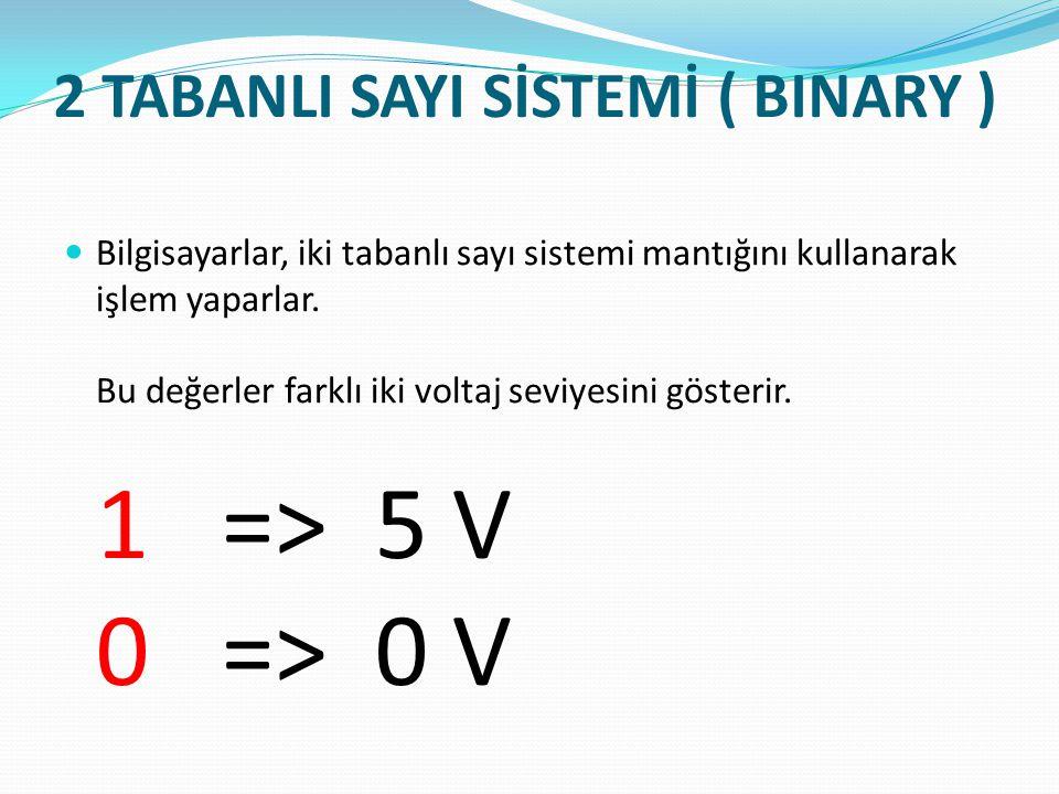 2 TABANLI SAYI SİSTEMİ ( BINARY ) Bilgisayarlar, iki tabanlı sayı sistemi mantığını kullanarak işlem yaparlar. Bu değerler farklı iki voltaj seviyesin