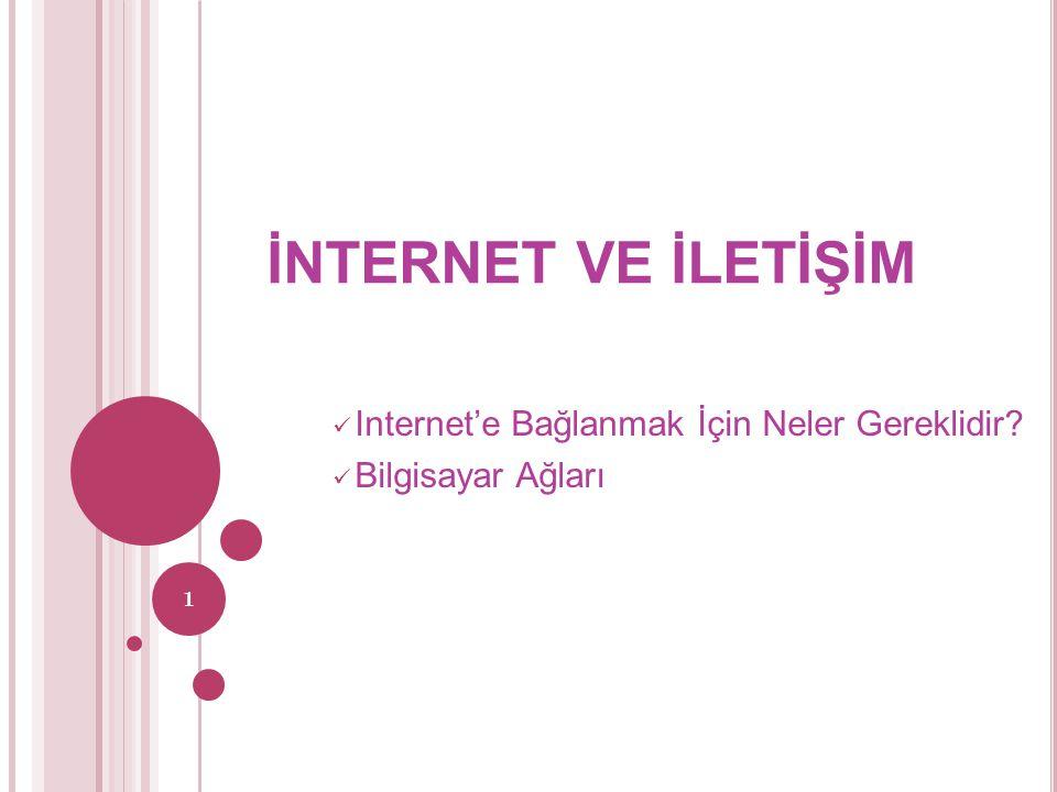 İNTERNET VE İLETİŞİM Internet'e Bağlanmak İçin Neler Gereklidir? Bilgisayar Ağları 1