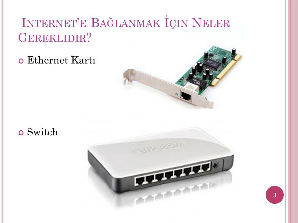 I NTERNET ' E B AĞLANMAK İ ÇIN N ELER G EREKLIDIR ? Ethernet Kartı Switch 3