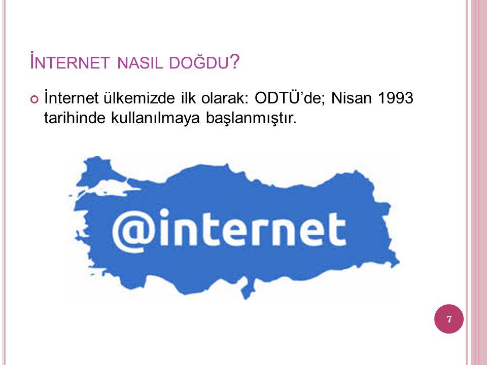 İ NTERNET NASIL DOĞDU ? İnternet ülkemizde ilk olarak: ODTÜ'de; Nisan 1993 tarihinde kullanılmaya başlanmıştır. 7