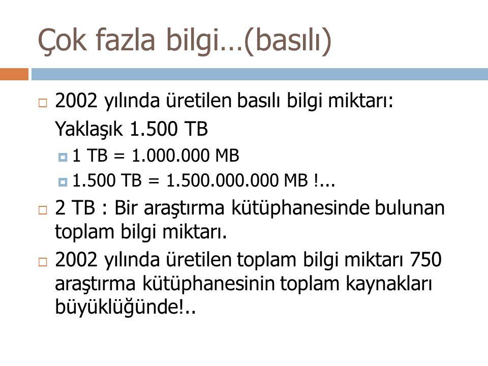 Çok fazla bilgi…(basılı)  2002 yılında üretilen basılı bilgi miktarı: Yaklaşık 1.500 TB  1 TB = 1.000.000 MB  1.500 TB = 1.500.000.000 MB !...