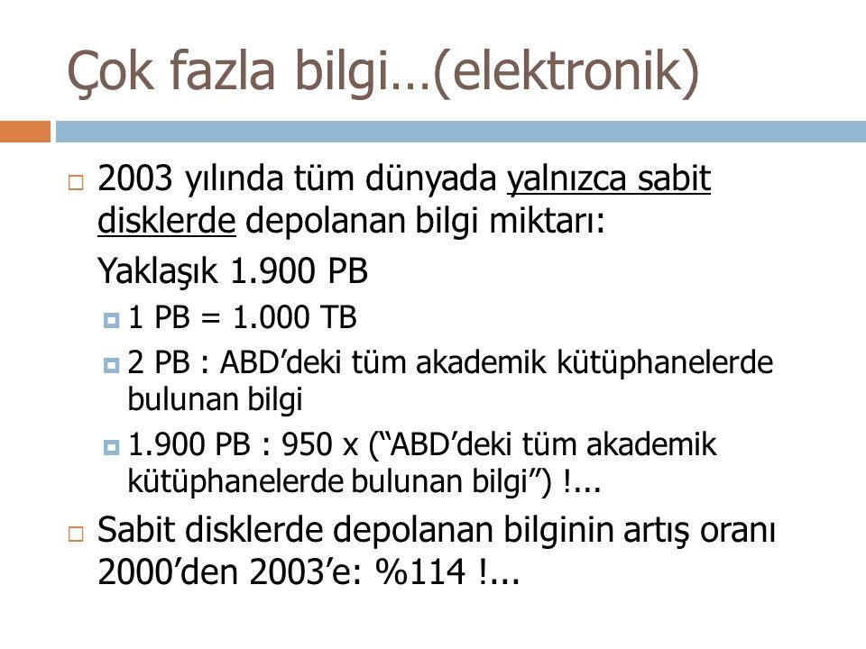 Çok fazla bilgi…(elektronik)  2003 yılında tüm dünyada yalnızca sabit disklerde depolanan bilgi miktarı: Yaklaşık 1.900 PB  1 PB = 1.000 TB  2 PB : ABD'deki tüm akademik kütüphanelerde bulunan bilgi  1.900 PB : 950 x ( ABD'deki tüm akademik kütüphanelerde bulunan bilgi ) !...