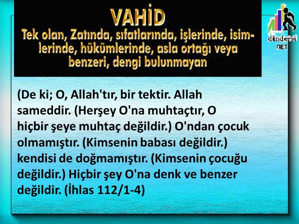 (De ki; O, Allah'tır, bir tektir. Allah sameddir. (Herşey O'na muhtaçtır, O hiçbir şeye muhtaç değildir.) O'ndan çocuk olmamıştır. (Kimsenin babası de