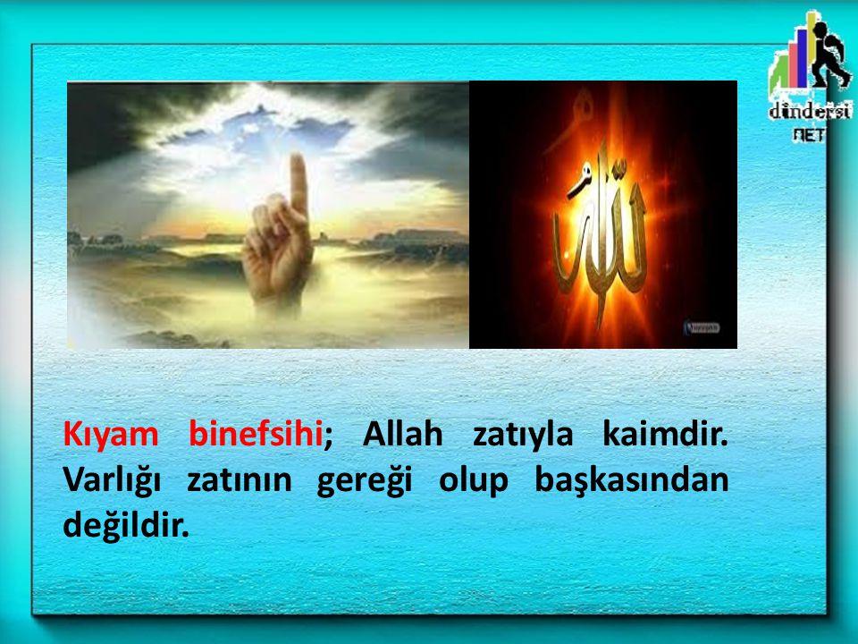 Kıyam binefsihi; Allah zatıyla kaimdir. Varlığı zatının gereği olup başkasından değildir.