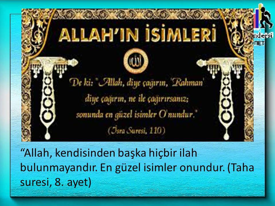 """""""Allah, kendisinden başka hiçbir ilah bulunmayandır. En güzel isimler onundur. (Taha suresi, 8. ayet)"""