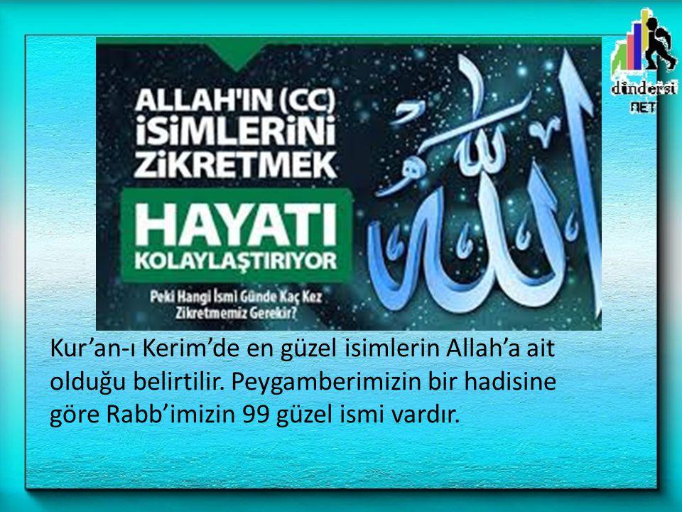 Kur'an-ı Kerim'de en güzel isimlerin Allah'a ait olduğu belirtilir. Peygamberimizin bir hadisine göre Rabb'imizin 99 güzel ismi vardır.
