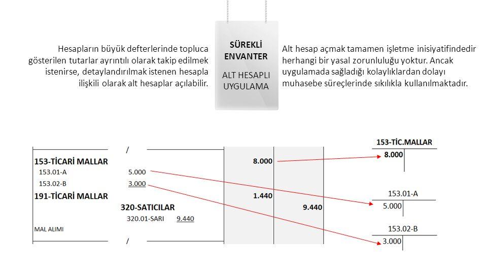 SÜREKLİ ENVANTER ALT HESAPLI UYGULAMA Hesapların büyük defterlerinde topluca gösterilen tutarlar ayrıntılı olarak takip edilmek istenirse, detaylandır