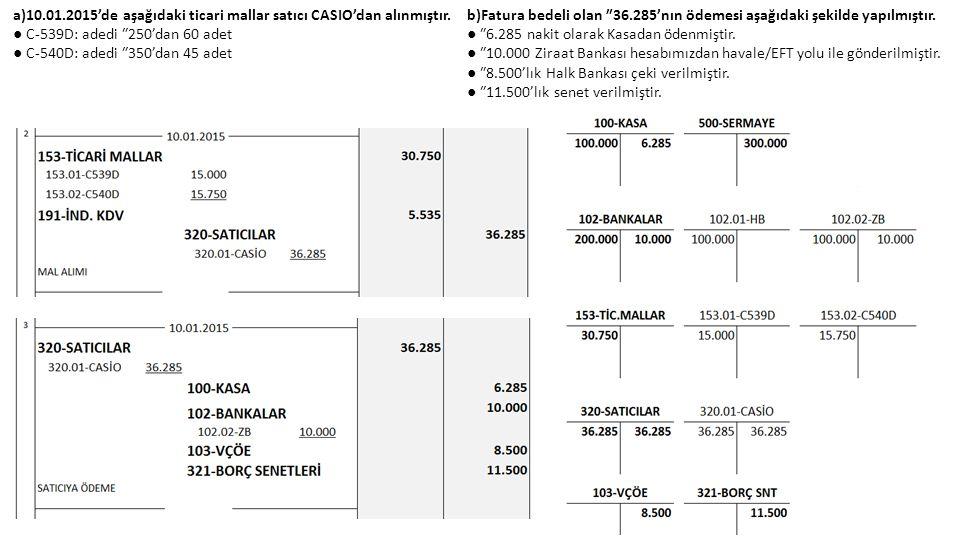 a)10.01.2015'de aşağıdaki ticari mallar satıcı CASIO'dan alınmıştır. ● C-539D: adedi ₺250'dan 60 adet ● C-540D: adedi ₺350'dan 45 adet b)Fatura bedeli