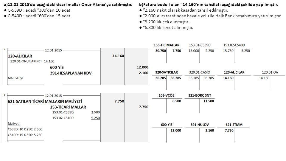 a)12.01.2015'de aşağıdaki ticari mallar Onur Akıncı'ya satılmıştır. ● C-539D : adedi ₺300'dan 10 adet ● C-540D : adedi ₺600'dan 15 adet b)Fatura bedel