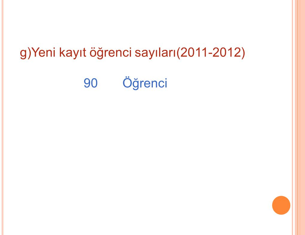 g)Yeni kayıt öğrenci sayıları(2011-2012) 90 Öğrenci