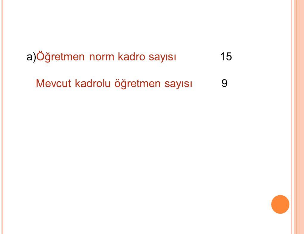 a)Öğretmen norm kadro sayısı 15 Mevcut kadrolu öğretmen sayısı 9