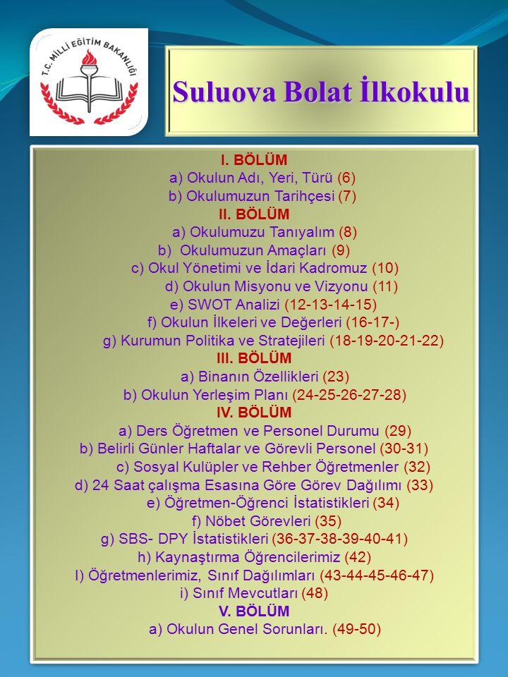 I.BÖLÜM a) Okulun Adı, Yeri, Türü (6) b) Okulumuzun Tarihçesi (7) II.