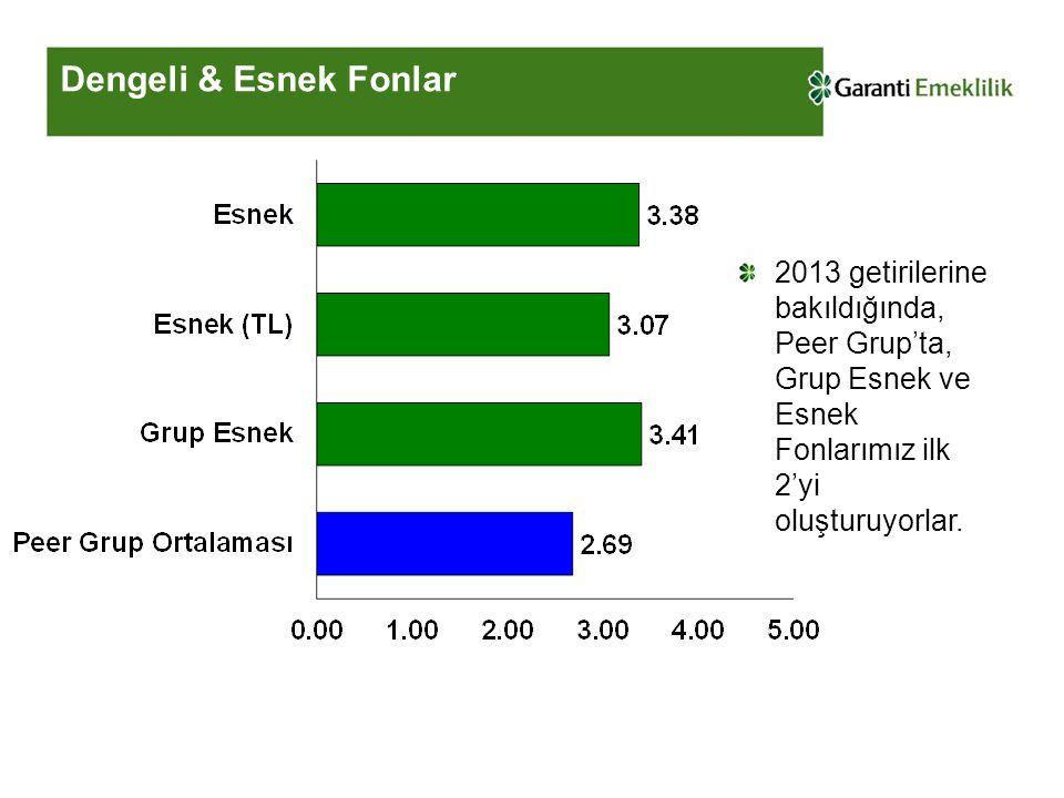 Dengeli & Esnek Fonlar 2013 getirilerine bakıldığında, Peer Grup'ta, Grup Esnek ve Esnek Fonlarımız ilk 2'yi oluşturuyorlar.