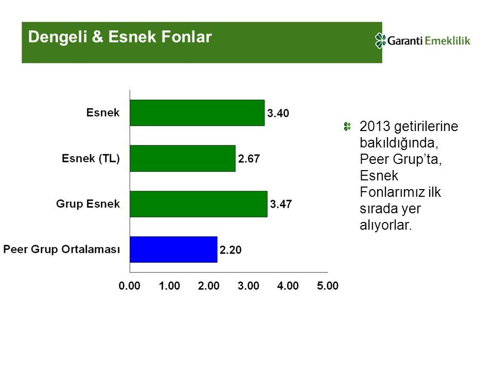 Dengeli & Esnek Fonlar 2013 getirilerine bakıldığında, Peer Grup'ta, Esnek Fonlarımız ilk sırada yer alıyorlar.