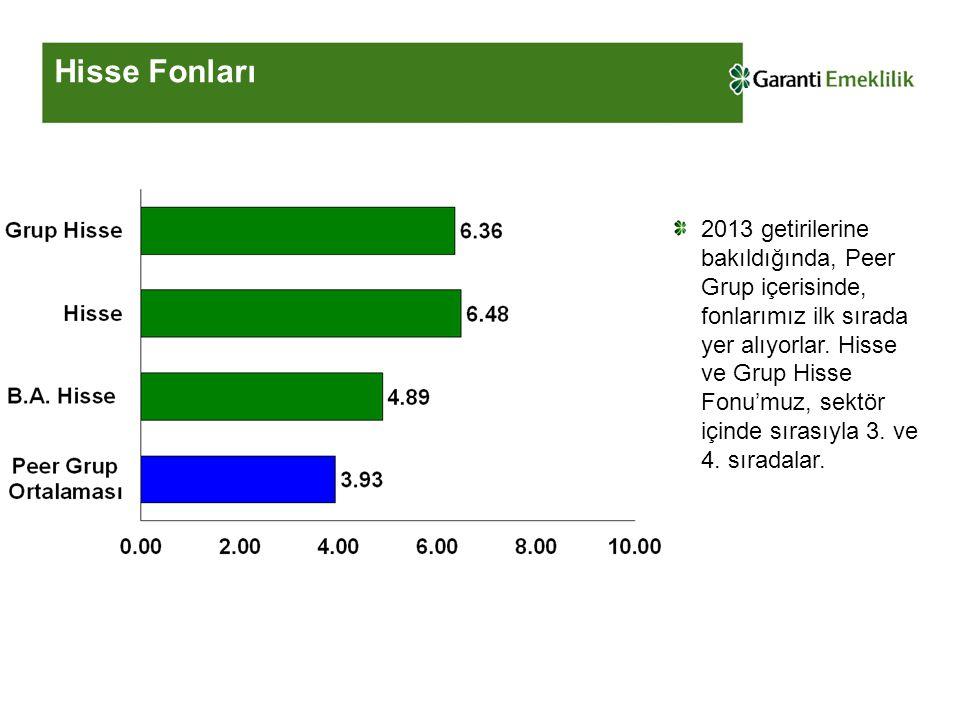 Hisse Fonları 2013 getirilerine bakıldığında, Peer Grup içerisinde, fonlarımız ilk sırada yer alıyorlar.
